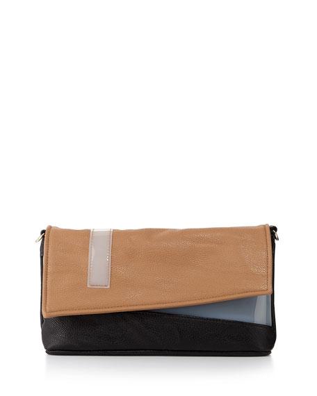 Color-Block Faux-Leather Asymmetric Clutch, Black/Tan