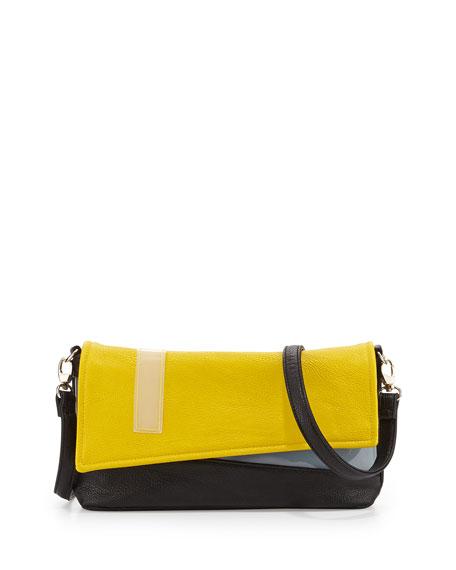 Colorblock Faux-Leather Asymmetric Clutch, Black/Yellow