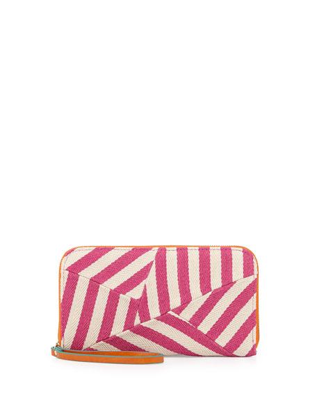 Striped Canvas Zip Wallet, Pink/Orange