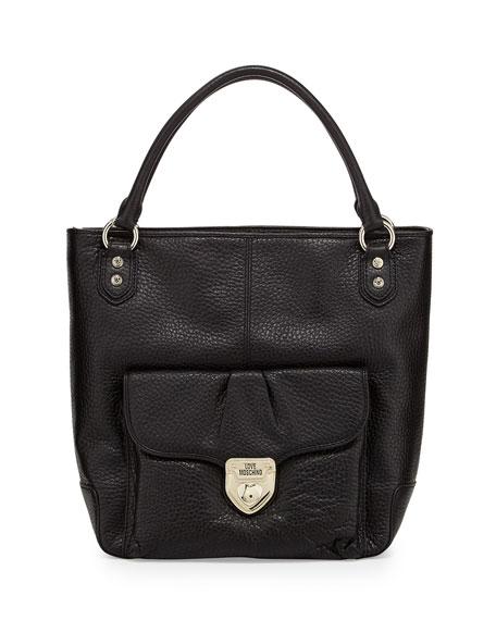 Pebbled Leather North-South Tote Bag, Black