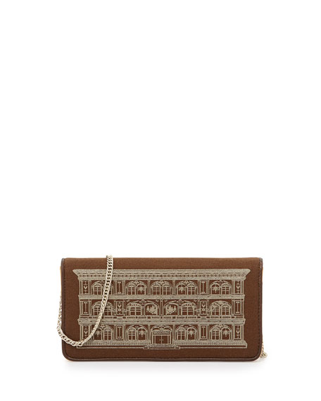 Metallic House Of Moschino Printed Wallet Clutch, Camel/Bronze