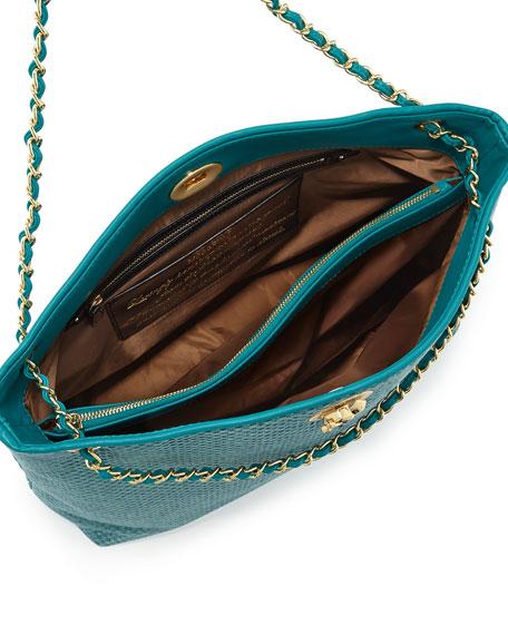 Borsa Tessuto Woven Chain Tote, Turquoise
