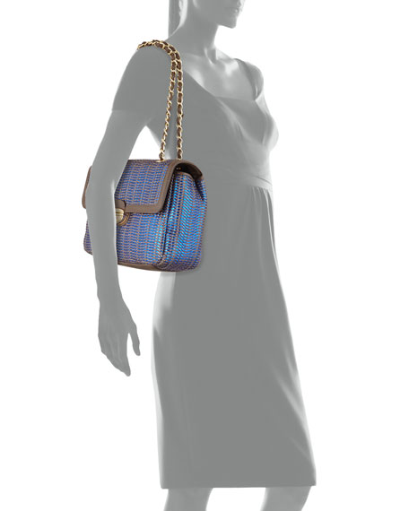 Borsa Woven Metallic PVC Crossbody Bag, Blue/Taupe