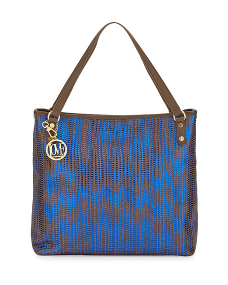 Borsa Metallic Woven PVC Tote Bag, Blue/Taupe