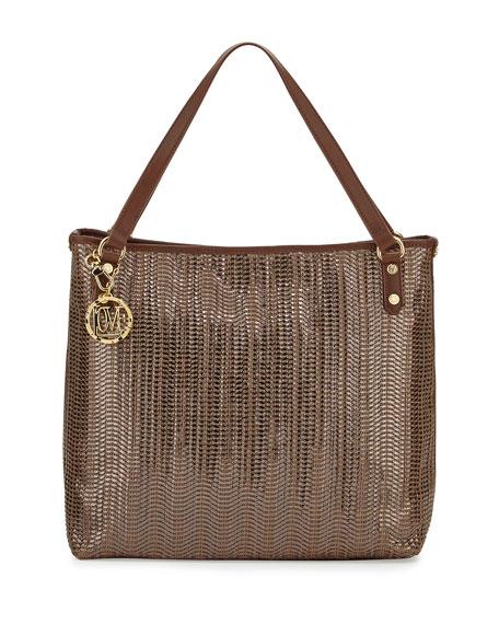 Borsa Metallic Woven PVC Tote Bag, Bronze/Brown