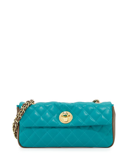 Borsa Quilted Faux-Leather Crossbody Bag, Taupe/Turquoise