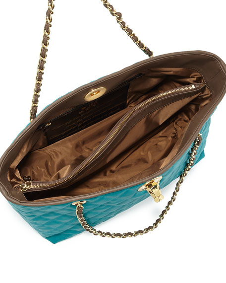 Borsa Quilted Faux-Leather Tote, Taupe/Turquoise