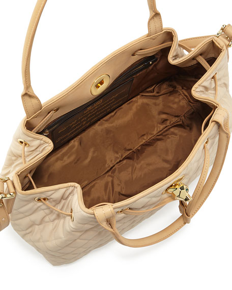 Borsa Quilted Faux-Leather Tote, Beige/Ivory