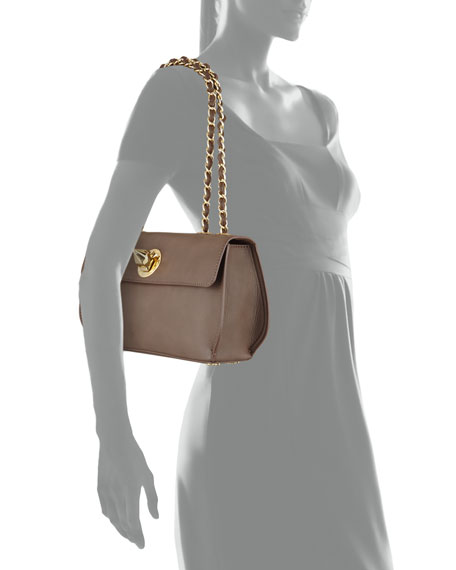 Borsa Faux-Leather Crossbody Bag, Taupe