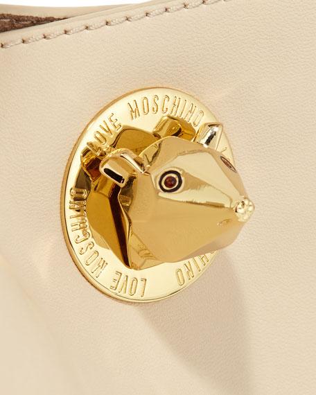 Bear Detailed Turn-Lock Shopper Bag, Ivory
