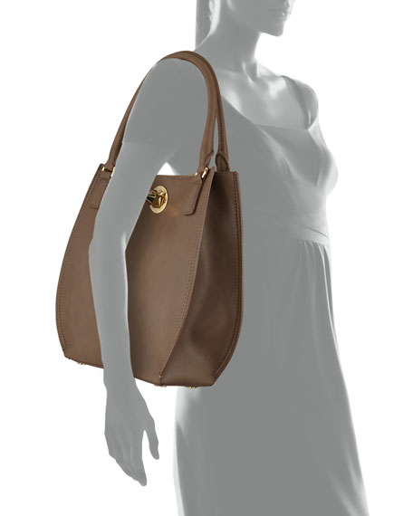 Nappa Faux-Leather Tote Bag, Taupe