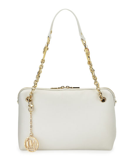 Saffiano Cow-Detail Faux-Leather Shoulder Bag, White