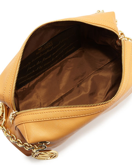 Saffiano Cow-Detail Faux-Leather Shoulder Bag, Camel