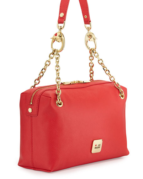 Saffiano Cow-Detail Faux-Leather Shoulder Bag, Red
