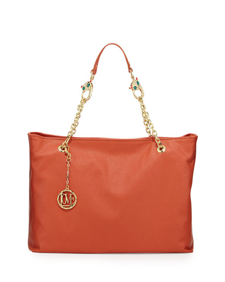 Saffiano Cat-Handle Faux-Leather Tote, Orange