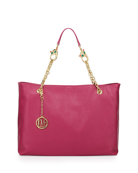 Saffiano Cat-Handle Faux-Leather Tote, Fuchsia