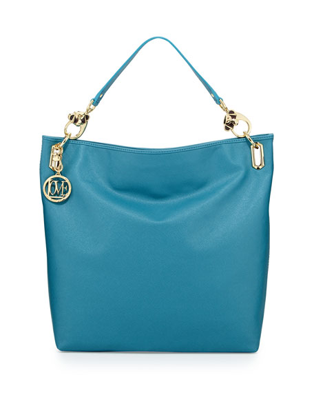 Saffiano Monkey-Handle Faux-Leather Large Tote, Blue