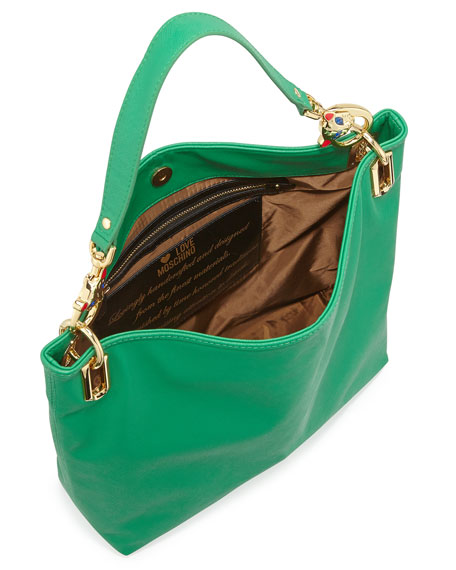 Saffiano Cat-Handle Faux-Leather Small Tote, Green