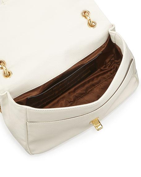 Saffiano Owl-Handle Faux-Leather Shoulder Bag, White