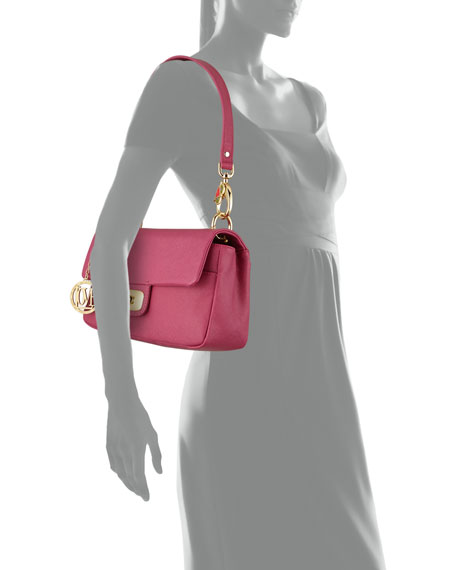 Saffiano Owl-Handle Faux-Leather Shoulder Bag, Fuchsia