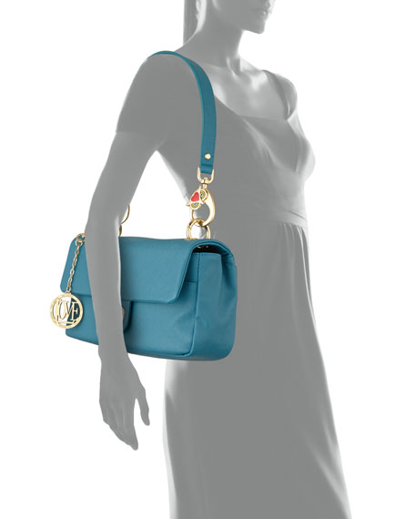 Saffiano Owl-Handle Faux-Leather Shoulder Bag, Blue