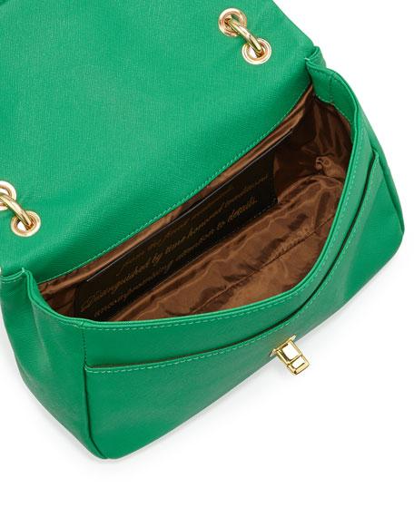 Saffiano Owl-Handle Faux-Leather Shoulder Bag, Green