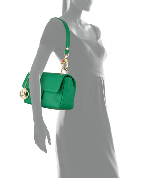 Saffiano Owl-Handle Faux-Leather Shoulder Bag, Green