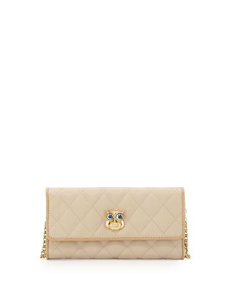 Quilted Faux-Leather Owl Wallet Clutch, Ivory/Beige