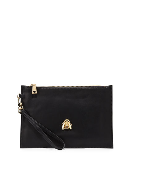Large Faux-Leather Scarab Wristlet, Black