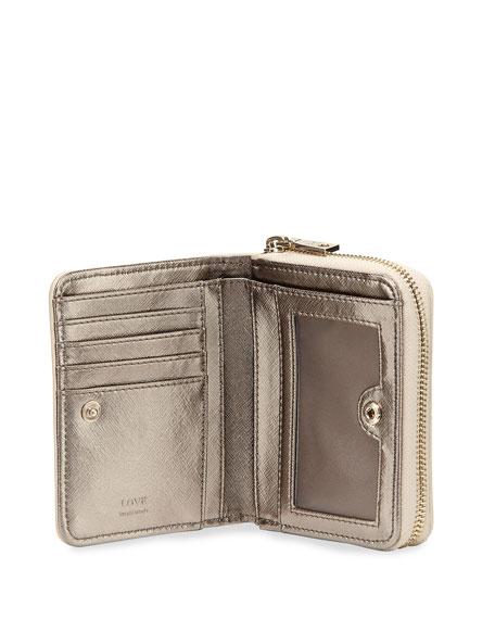 Woven Faux-Leather Stripe Wallet, Beige/Ivory