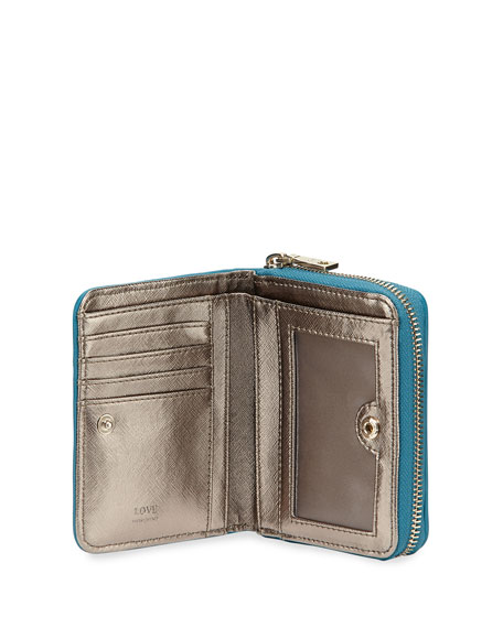 Woven Faux-Leather Stripe Wallet, Turquoise