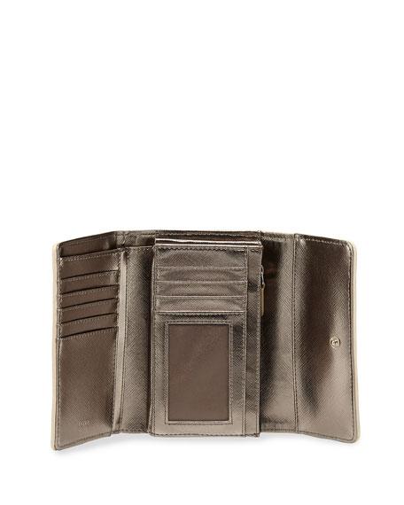 Medium Woven Faux-Leather Stripe Wallet, Beige/Ivory