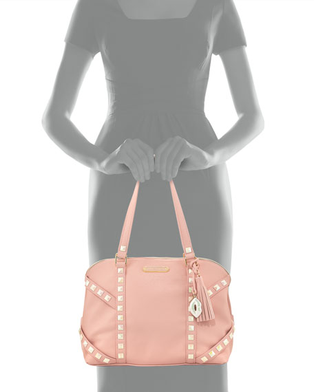 Iridescent Studded Dome Satchel Bag, Blush