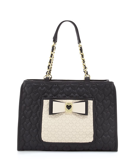 Two-Tone Quilted Heart Tote Bag, Black