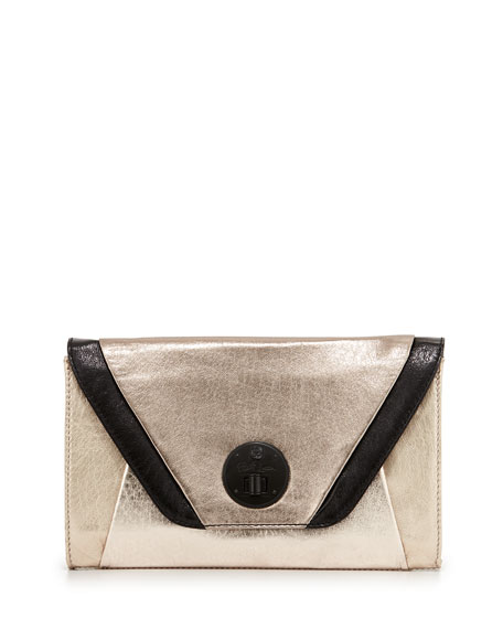 Metallic Colorblock Leather Clutch, Golden