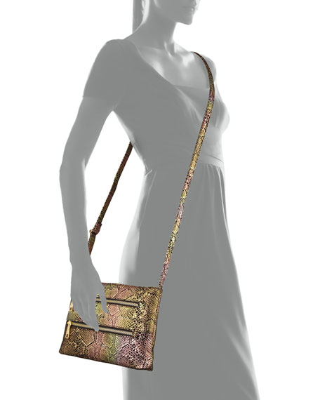 Mara Iridescent Snake-Embossed Crossbody Bag