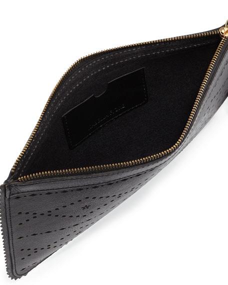 Emma Flower & Diamond Perforated Clutch, Black