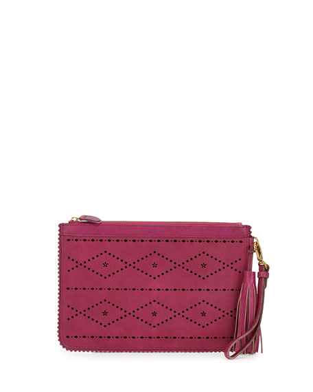 Isabella Fiore Emma Flower & Diamond Perforated Clutch,