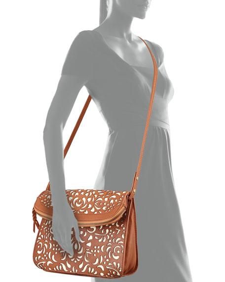 Eugenie Laser-Cut Foldover Crossbody Bag, Henna