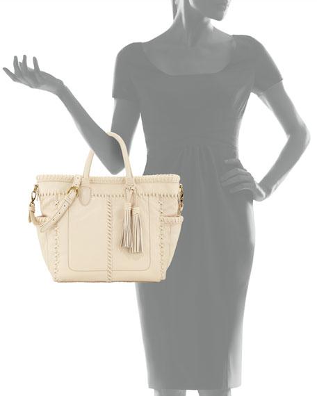 Odette Topstitched Leather Tote Bag, Alabaster