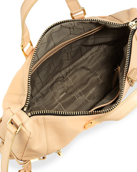 Honore Large Leather Hobo Bag, Powder
