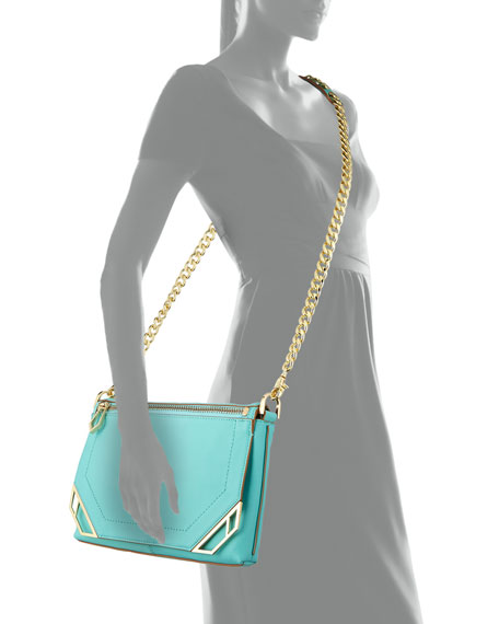 Linea Leather Crossbody Bag, Sky