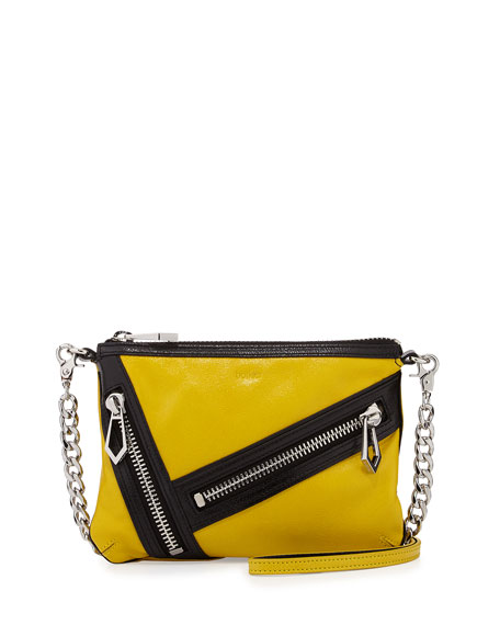 Cruz Zip Colorblock Leather Crossbody Bag, Citron/Black