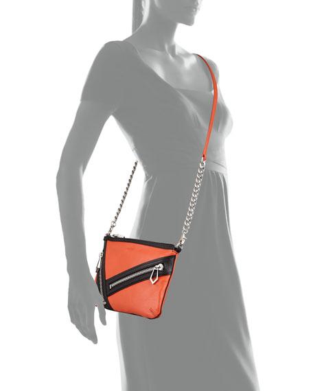Cruz Zip Colorblock Leather Crossbody Bag, Coral/Black