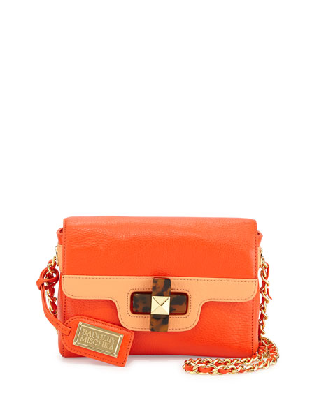 Badgley Mischka Maya Two-Tone Turn-Lock Shoulder Bag, Clementine