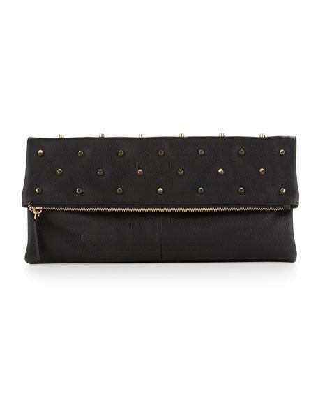 Raina Studded Fold-Over Clutch Bag, Black