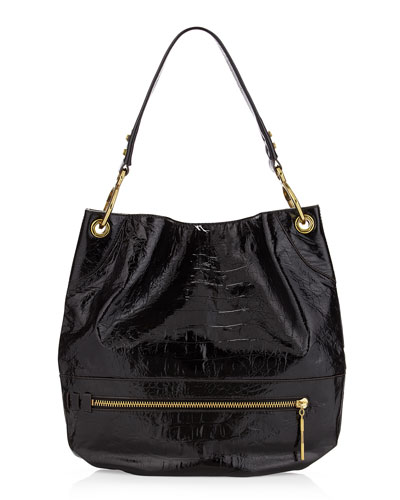 Oryany Lucy Crocodile-Embossed Patent Bag, Black