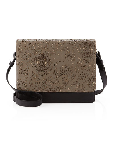 Be & D Louise Lace-Flap Shoulder Bag, Black Combo