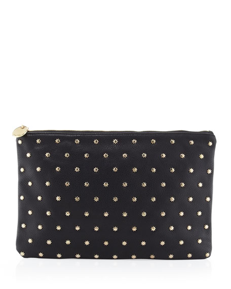 Star Gazer Pebbled Pouch Bag, Black