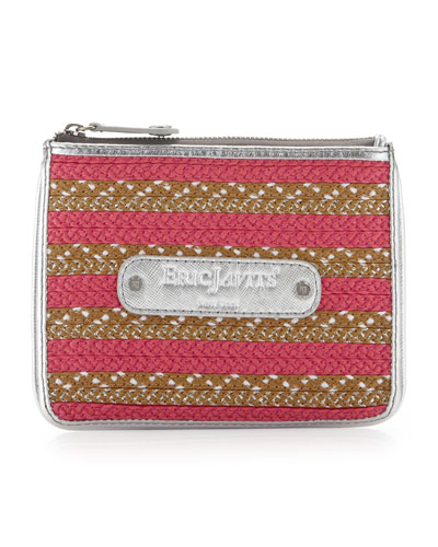 Eric Javits EJ Striped Zip Coin Purse, Fuchsia
